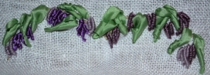 Swag of wisteria in Bullion Stitch