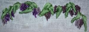 Swag of wisteria in Bullion Stitch