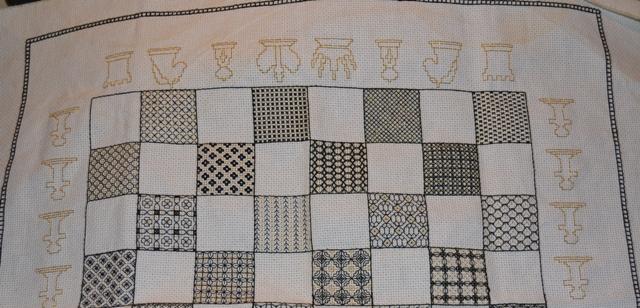 Blackwork chessboard white side of board
