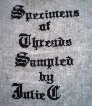 Almost done with stitched cover for Blackwork thread sampler fabric book