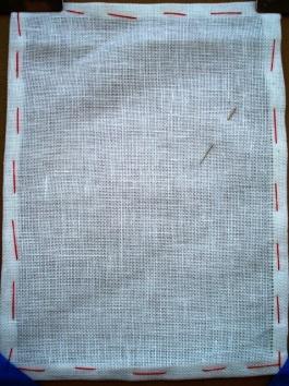 Danish hem stitch being worked