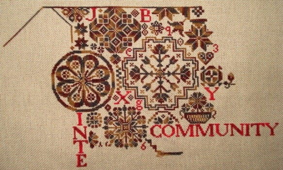 Into the second page of Bygone Stitches' Quaker Virtues