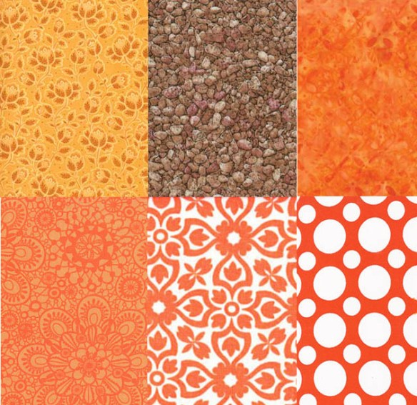 Three fabrics from Keepsake Quilting and three from Fort Worth Fabric Studio